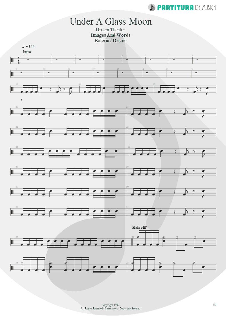 Partitura de musica de Bateria - Under A Glass Moon | Dream Theater | Images and Words 1992 - pag 1