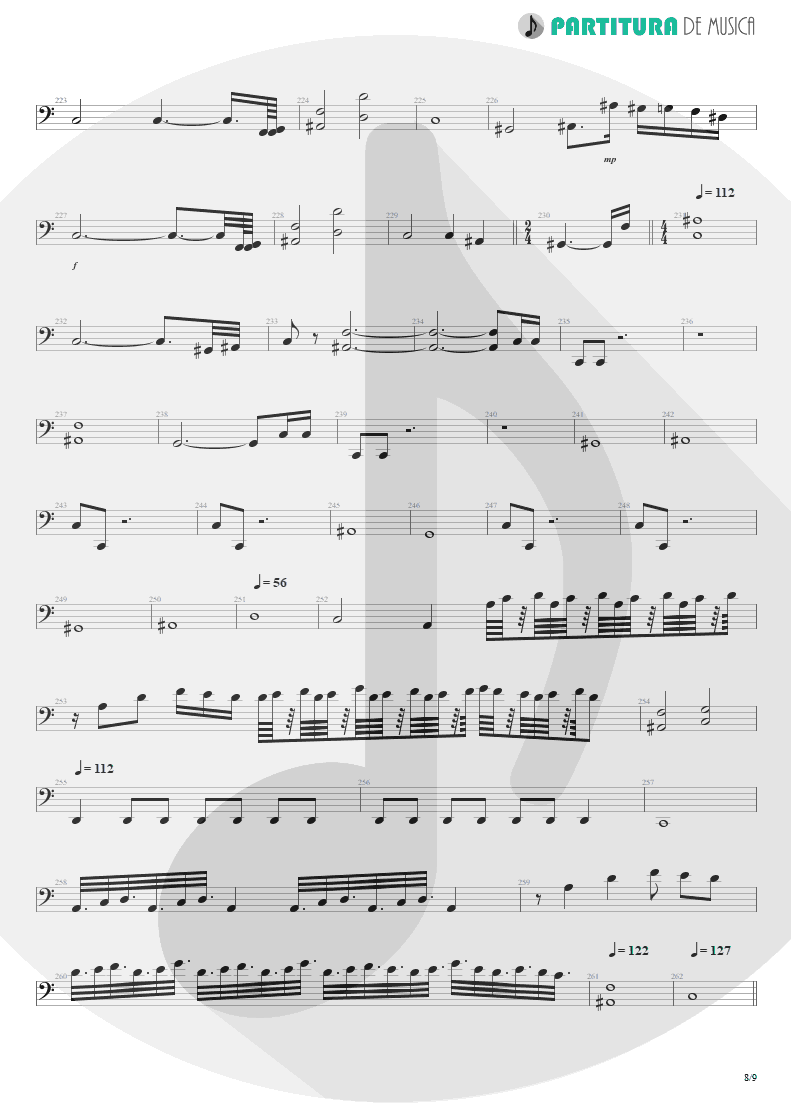 Partitura de musica de Baixo Elétrico - Another Hand / The Killing Hand | Dream Theater | Live at the Marquee 1993 - pag 8