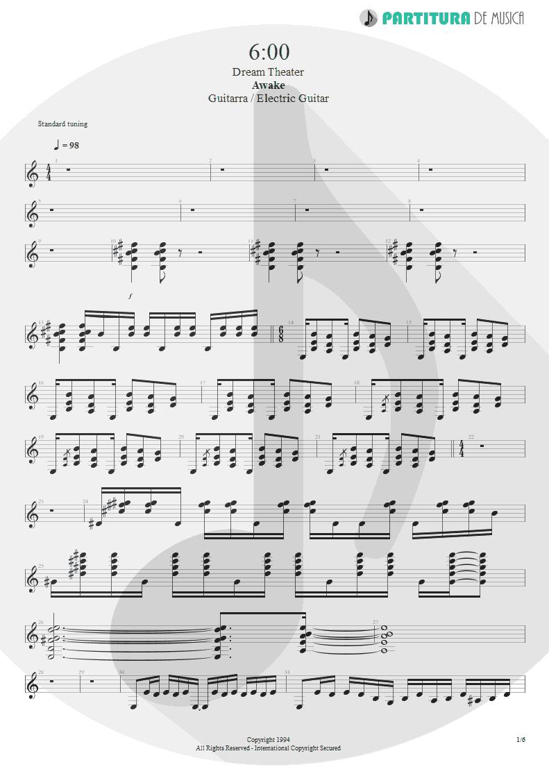 Partitura de musica de Guitarra Elétrica - 6:00 | Dream Theater | Awake 1994 - pag 1