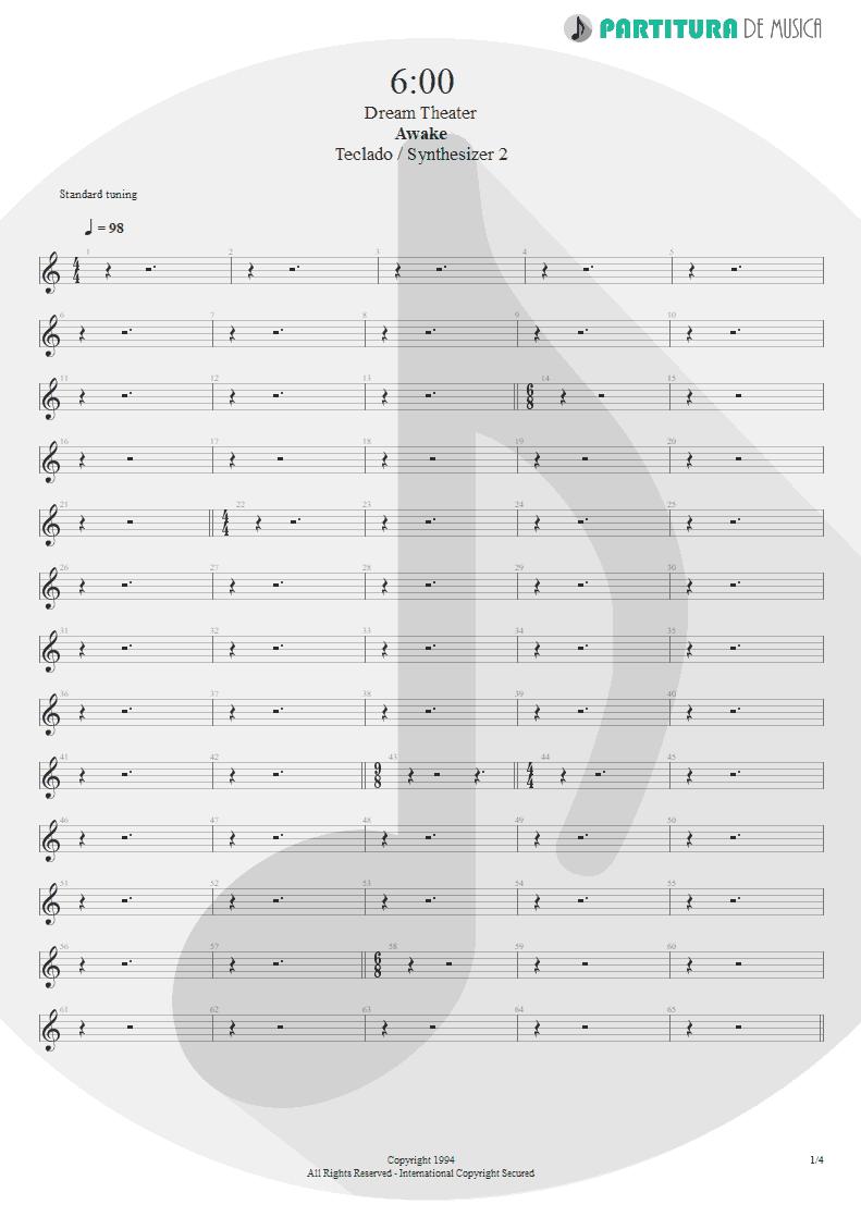 Partitura de musica de Teclado - 6:00 | Dream Theater | Awake 1994 - pag 1
