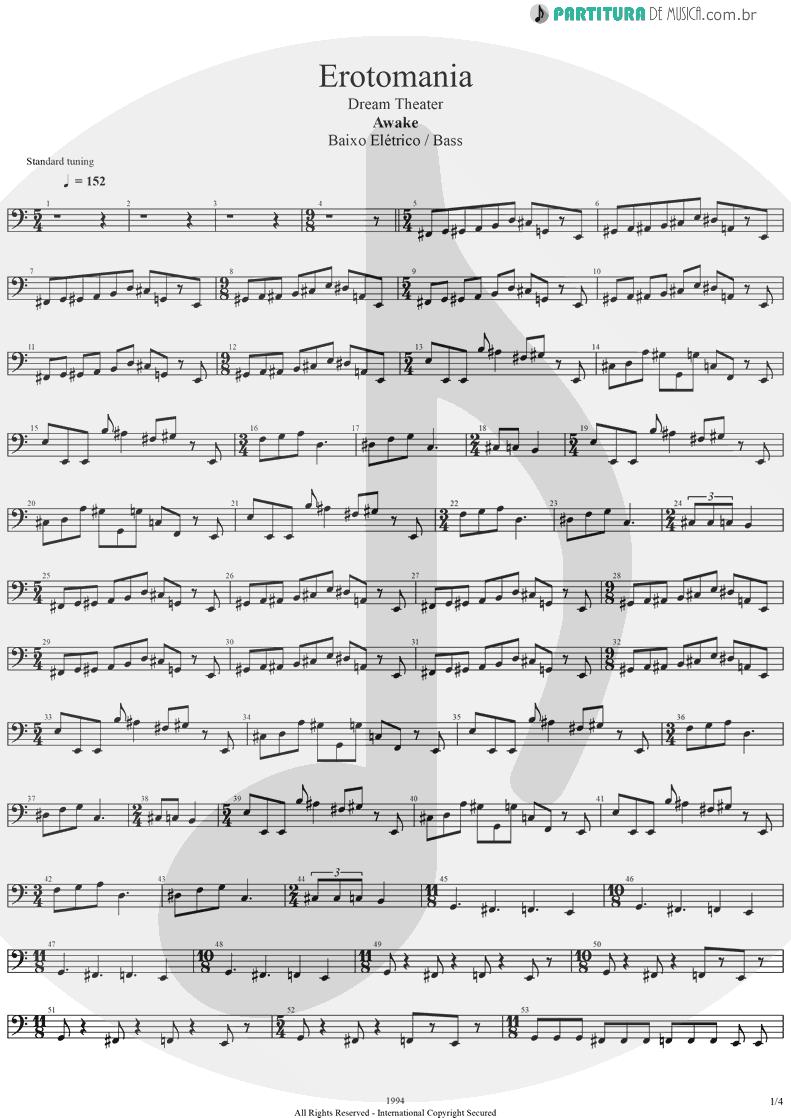 Partitura de musica de Baixo Elétrico - Erotomania | Dream Theater | Awake 1994 - pag 1