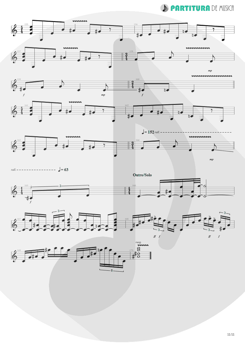 Partitura de musica de Guitarra Elétrica - Erotomania | Dream Theater | Awake 1994 - pag 11