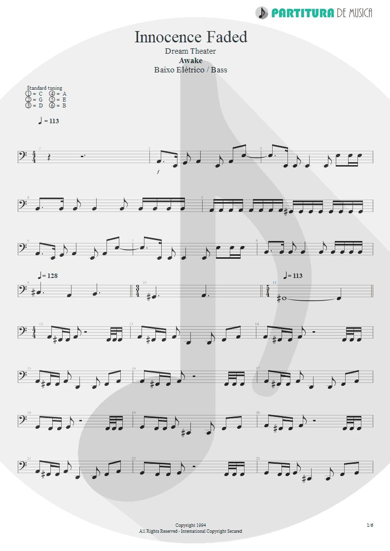 Partitura de musica de Baixo Elétrico - Innocence Faded | Dream Theater | Awake 1994 - pag 1