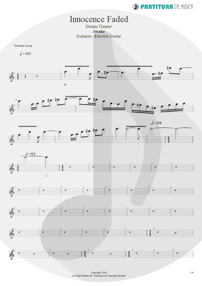 Partitura de musica de Guitarra Elétrica - Innocence Faded | Dream Theater | Awake 1994 - pag 1
