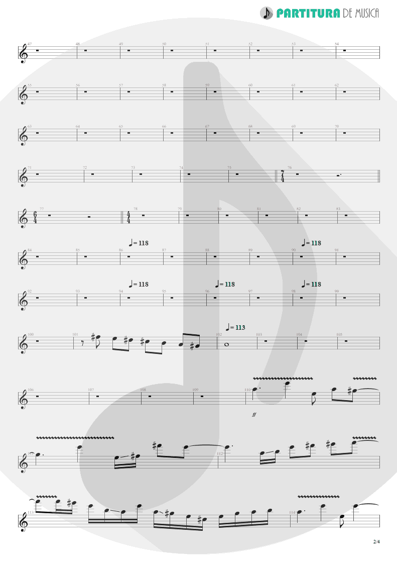 Partitura de musica de Guitarra Elétrica - Innocence Faded | Dream Theater | Awake 1994 - pag 2