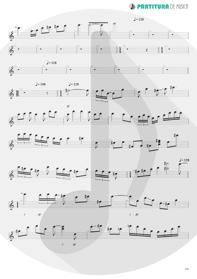 Partitura de musica de Guitarra Elétrica - Innocence Faded | Dream Theater | Awake 1994 - pag 3