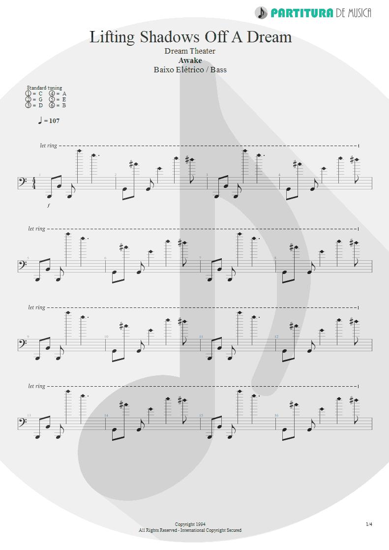 Partitura de musica de Baixo Elétrico - Lifting Shadows Off A Dream | Dream Theater | Awake 1994 - pag 1