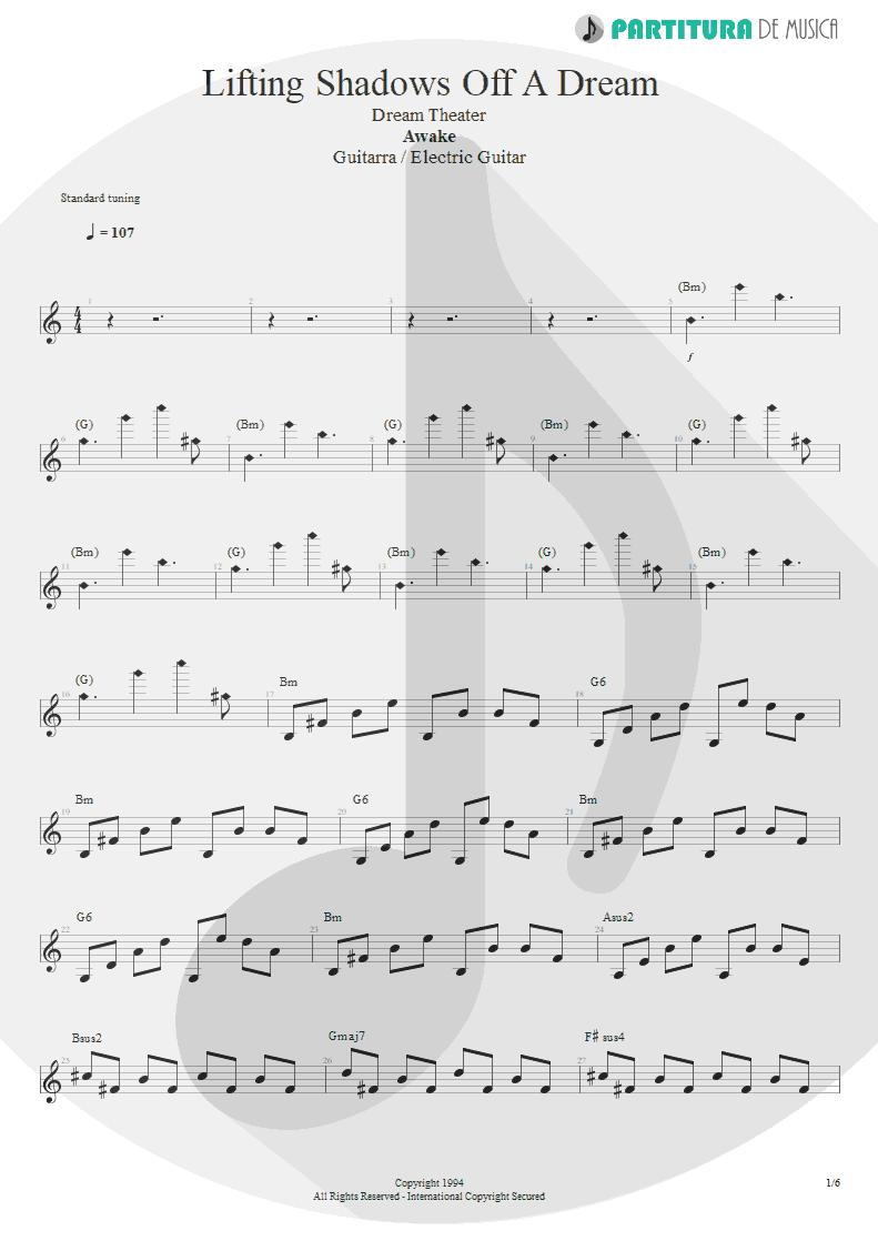 Partitura de musica de Guitarra Elétrica - Lifting Shadows Off A Dream | Dream Theater | Awake 1994 - pag 1
