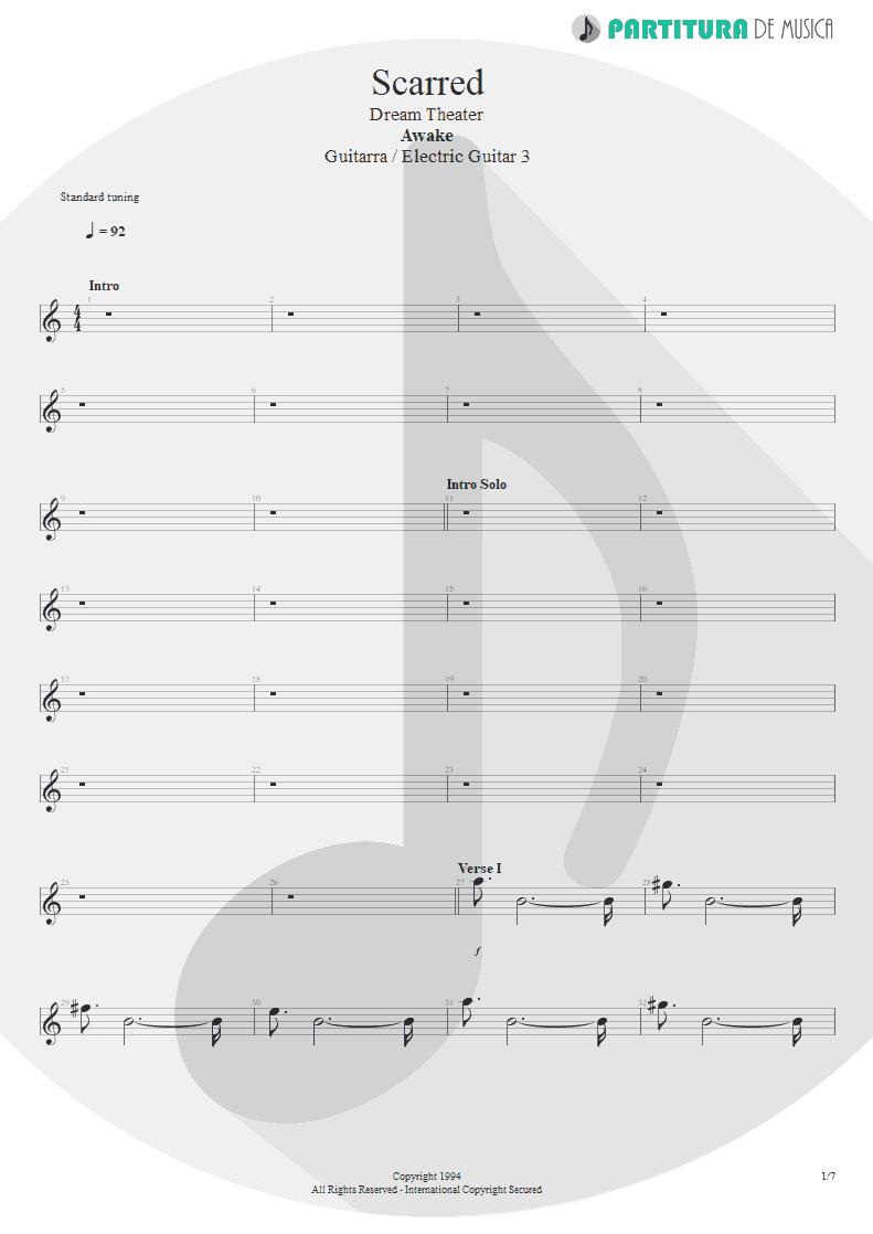 Partitura de musica de Guitarra Elétrica - Scarred | Dream Theater | Awake 1994 - pag 1