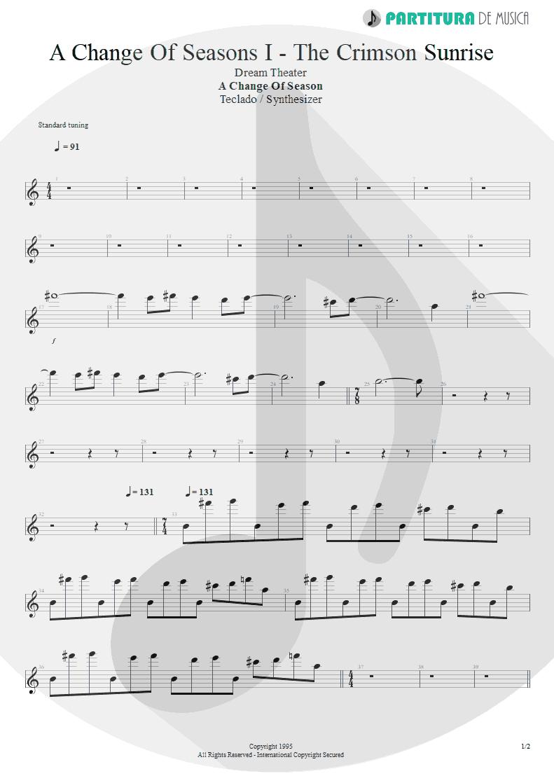 Partitura de musica de Teclado - ACOS: I - The Crimson Sunrise | Dream Theater | A Change of Seasons 1995 - pag 1