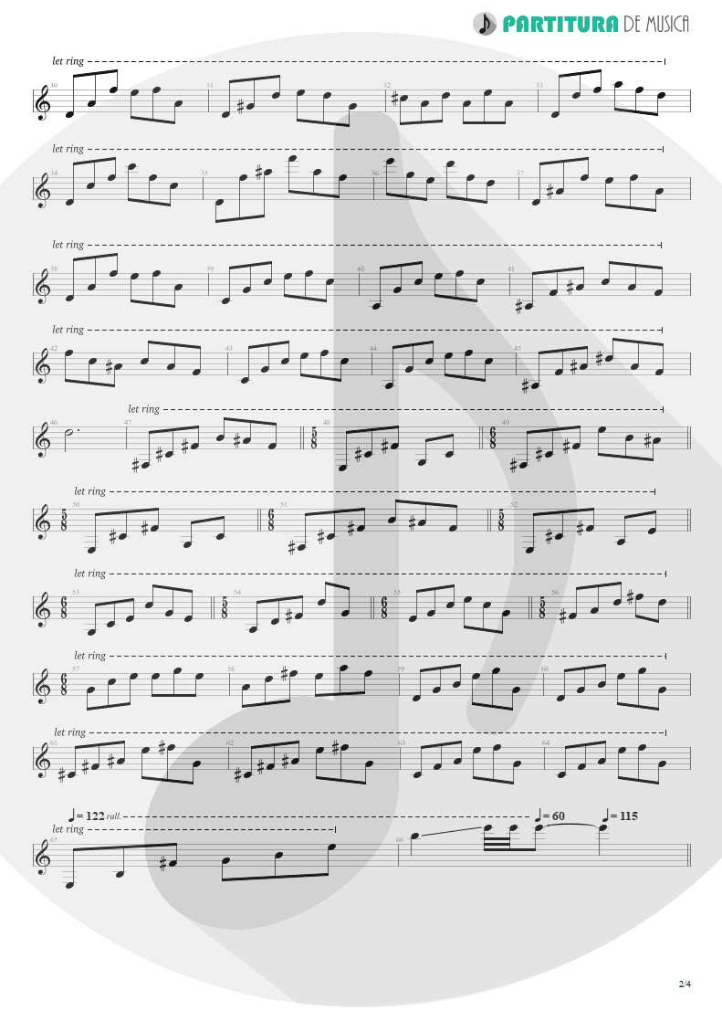 Partitura de musica de Guitarra Elétrica - ACOS: III - Carpe Diem | Dream Theater | A Change of Seasons 1995 - pag 2