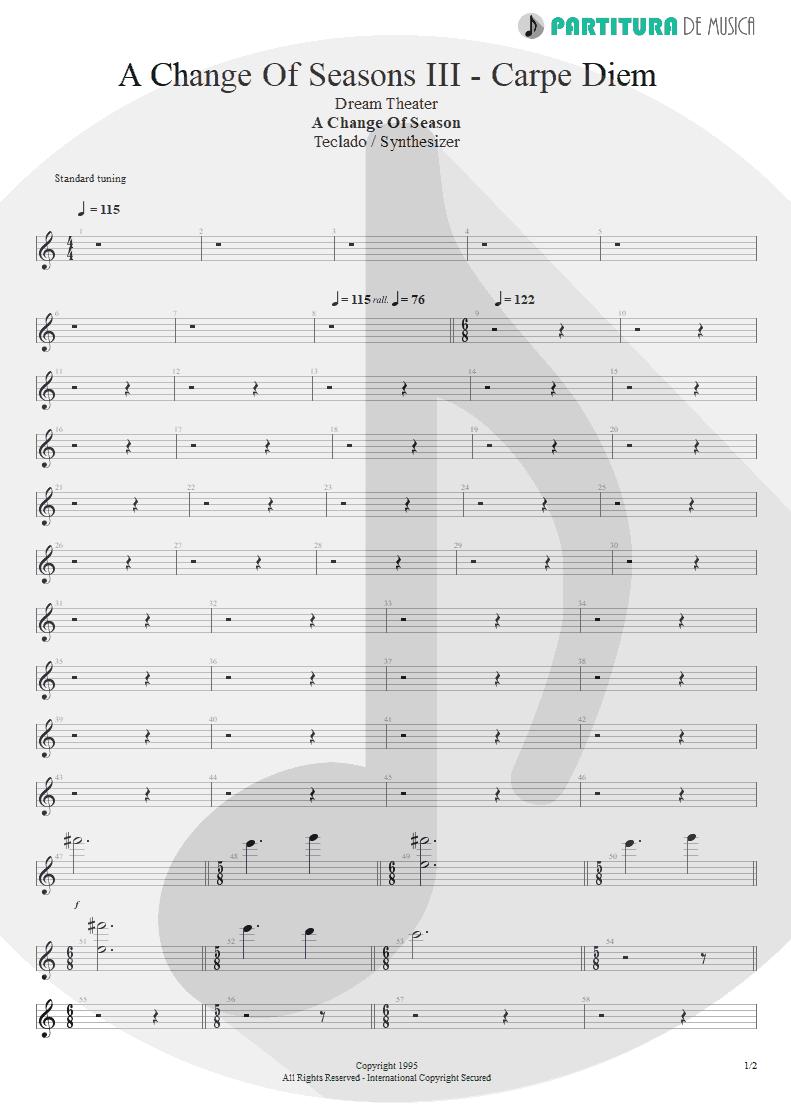 Partitura de musica de Teclado - ACOS: III - Carpe Diem | Dream Theater | A Change of Seasons 1995 - pag 1