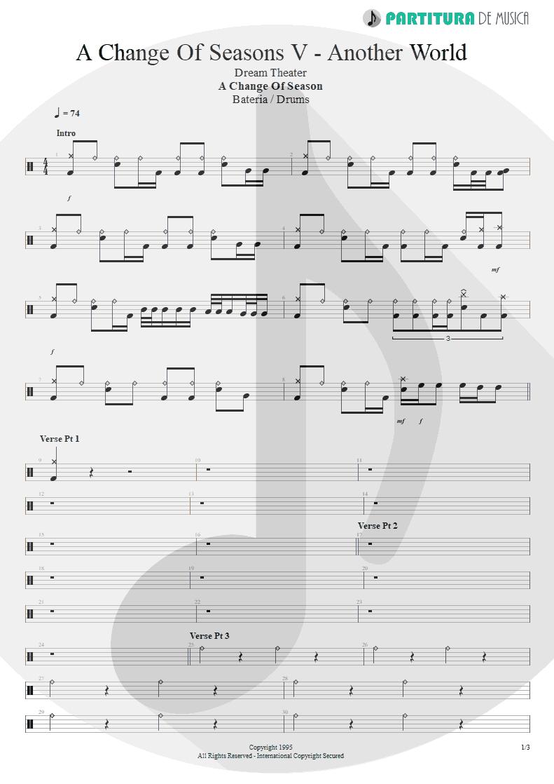 Partitura de musica de Bateria - ACOS: V - Another World | Dream Theater | A Change of Seasons 1995 - pag 1