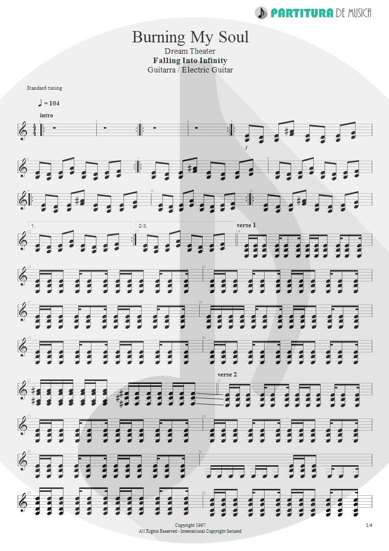 Partitura de musica de Guitarra Elétrica - Burning My Soul | Dream Theater | Falling into Infinity 1997 - pag 1