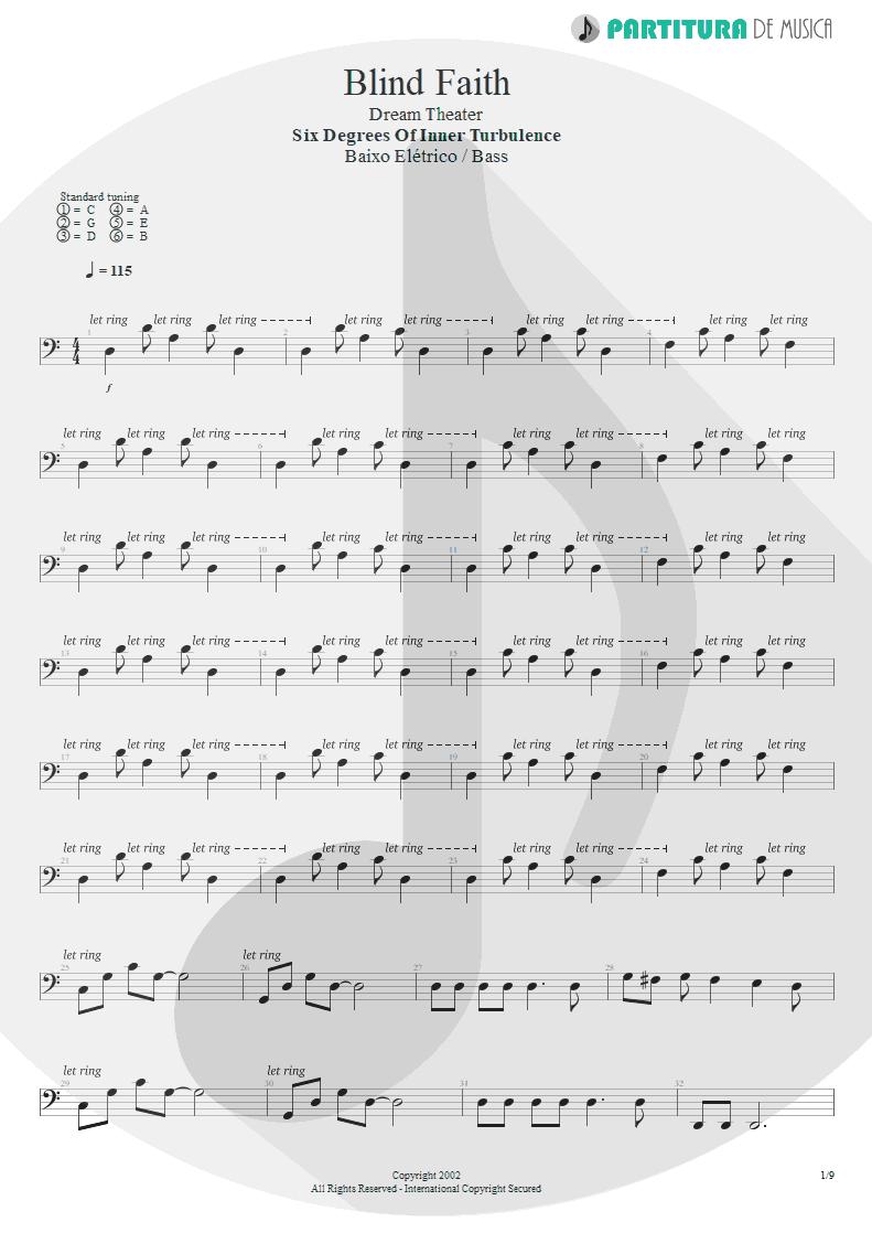 Partitura de musica de Baixo Elétrico - Blind Faith | Dream Theater | Six Degrees of Inner Turbulence 2002 - pag 1