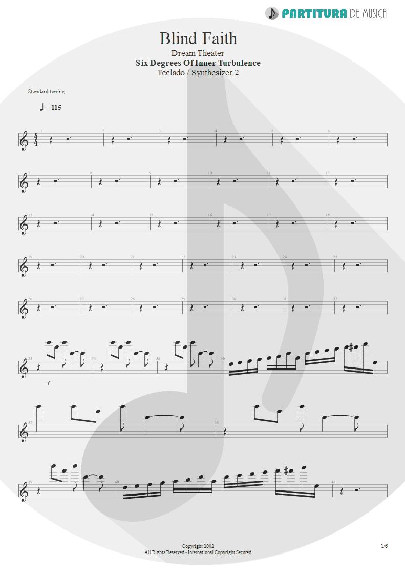 Partitura de musica de Teclado - Blind Faith | Dream Theater | Six Degrees of Inner Turbulence 2002 - pag 1