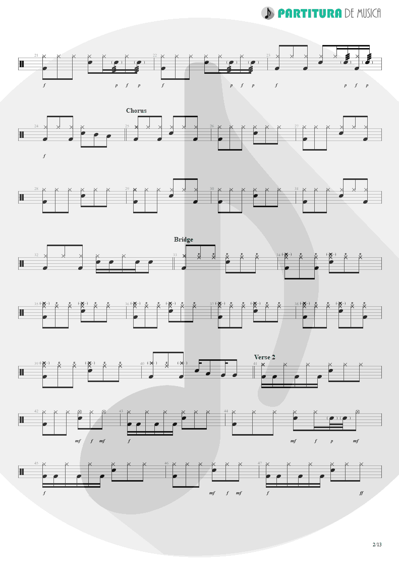 Partitura de musica de Bateria - Sacrificed Sons | Dream Theater | Octavarium 2005 - pag 2