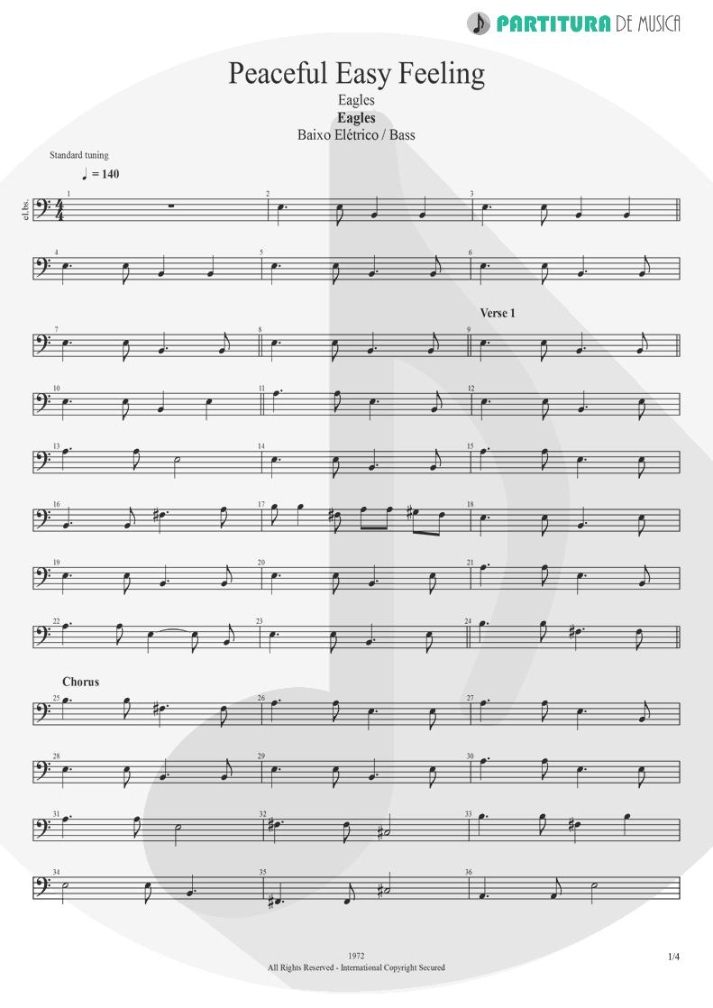 Partitura de musica de Baixo Elétrico - Peaceful Easy Feeling | Eagles | Eagles 1972 - pag 1