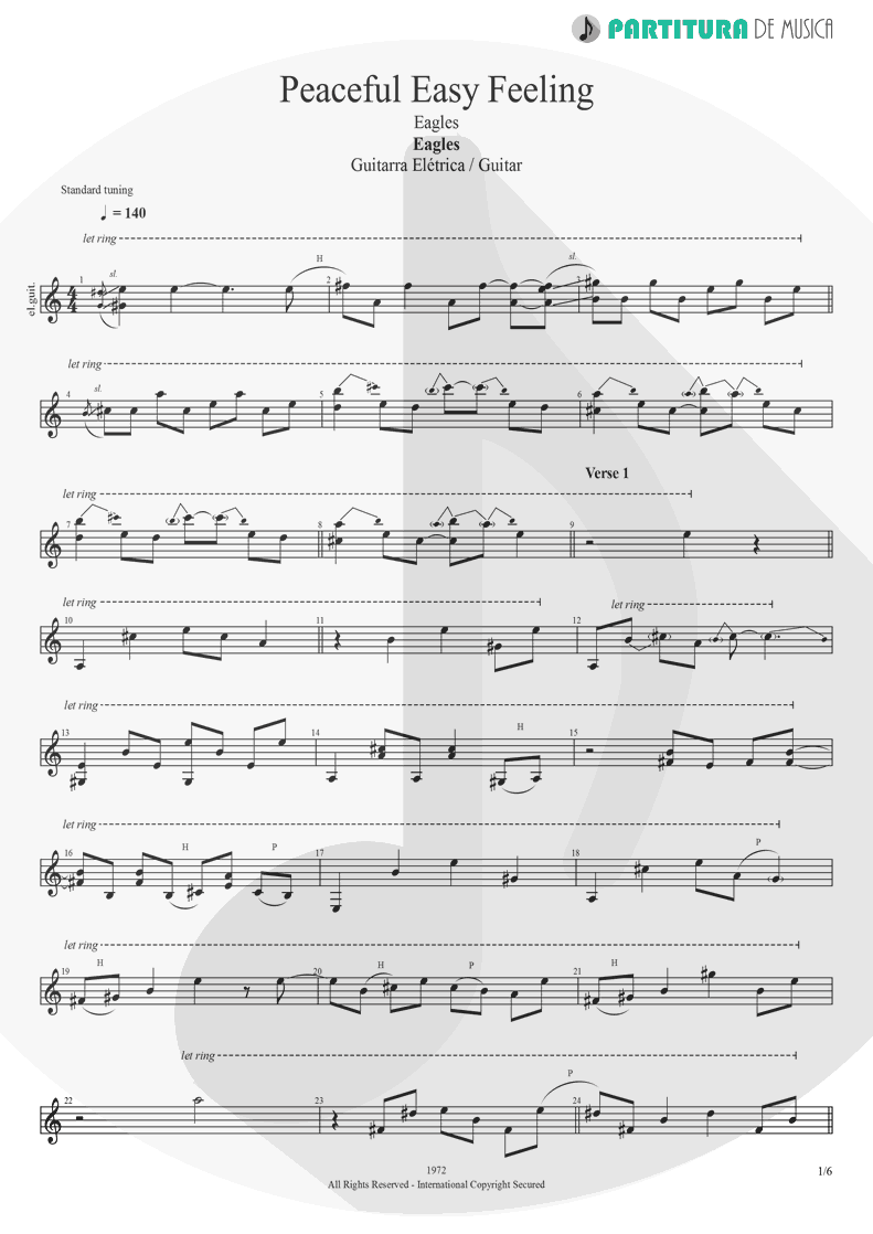 Partitura de musica de Guitarra Elétrica - Peaceful Easy Feeling | Eagles | Eagles 1972 - pag 1