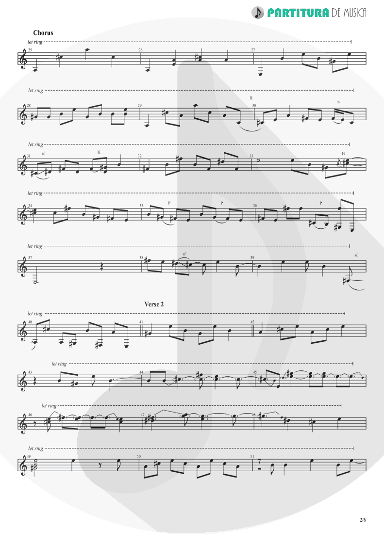 Partitura de musica de Guitarra Elétrica - Peaceful Easy Feeling | Eagles | Eagles 1972 - pag 2