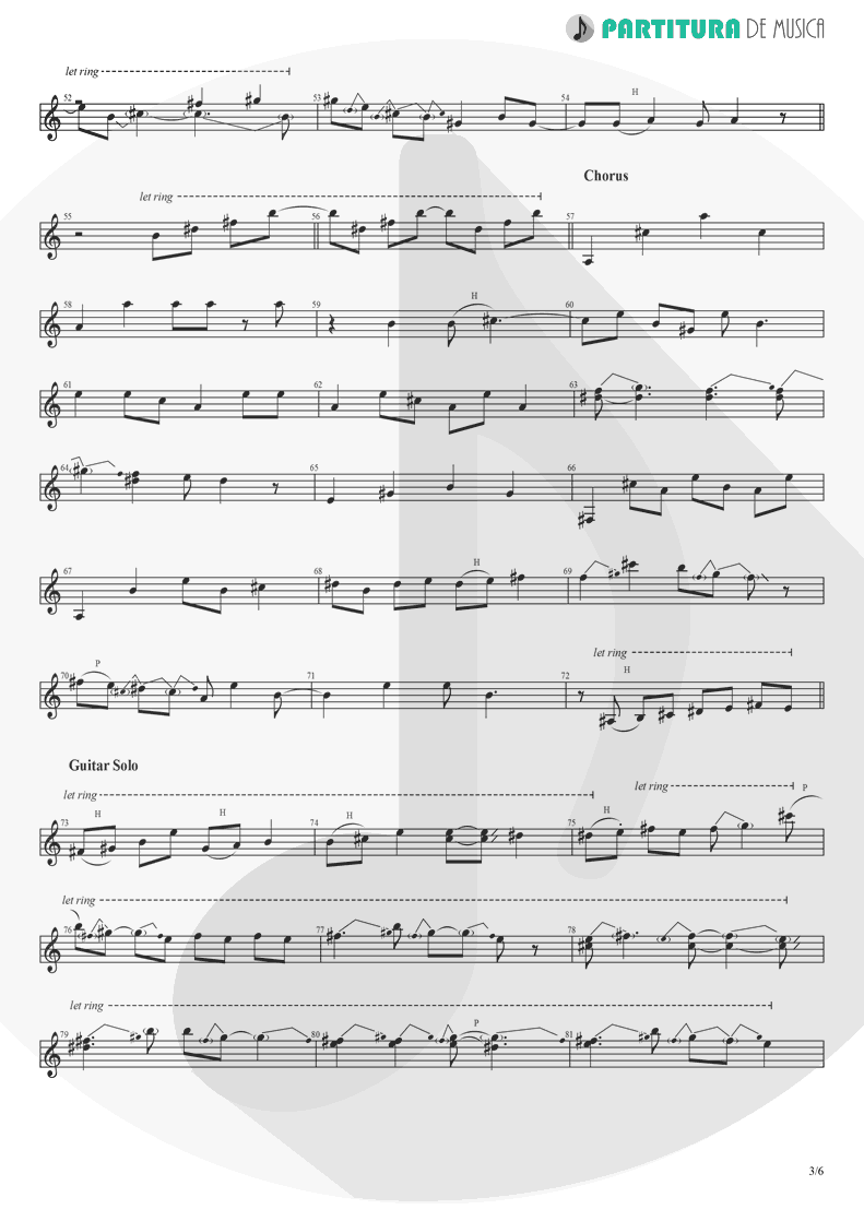 Partitura de musica de Guitarra Elétrica - Peaceful Easy Feeling | Eagles | Eagles 1972 - pag 3