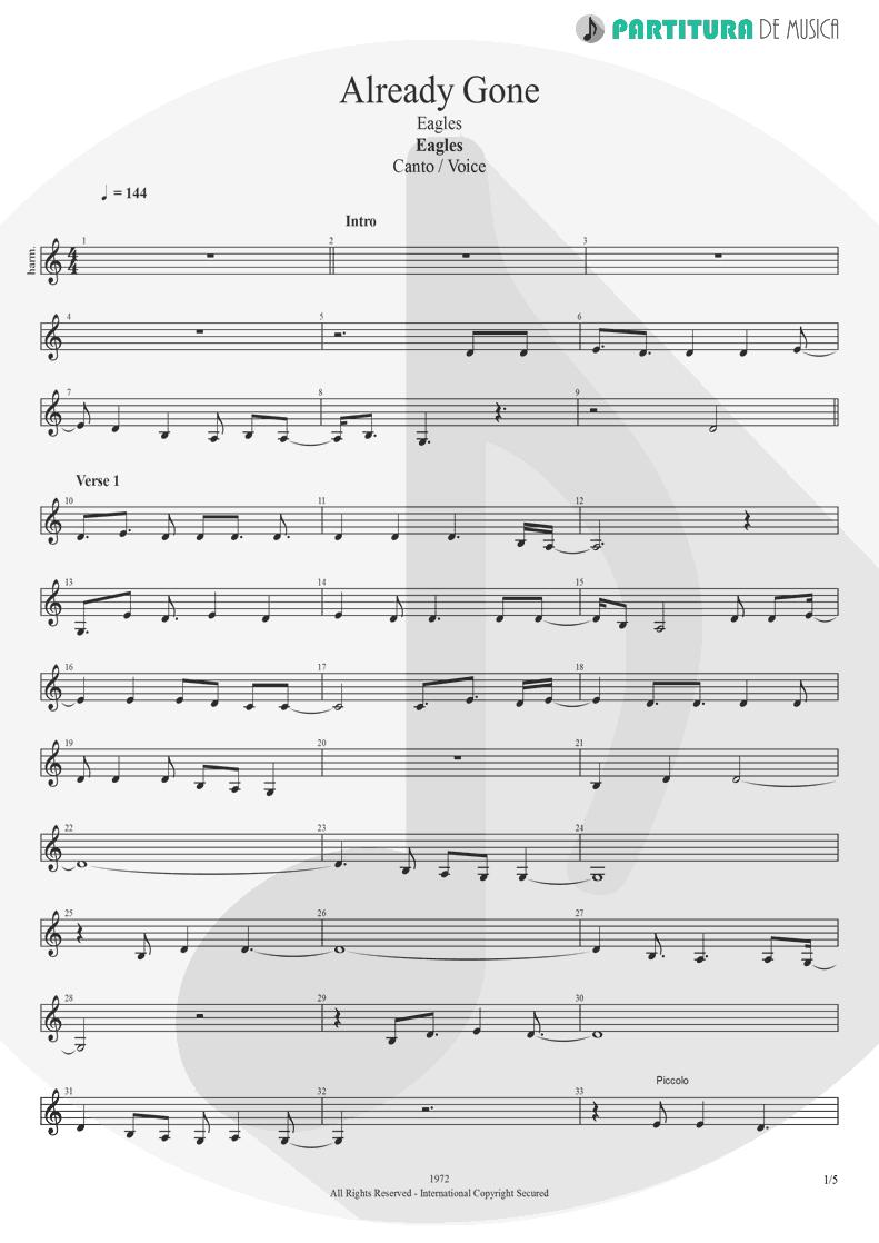Partitura de musica de Canto - Already Gone | Eagles | On The Border 1974 - pag 1