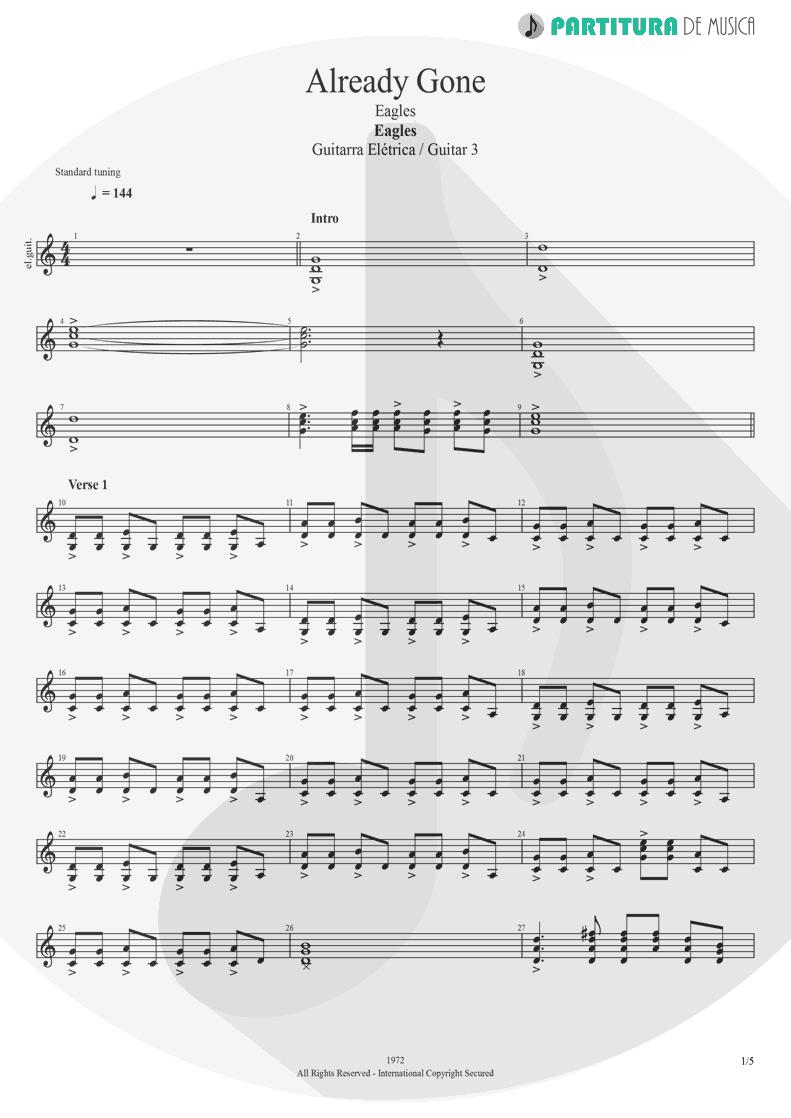Partitura de musica de Guitarra Elétrica - Already Gone   Eagles   On The Border 1974 - pag 1