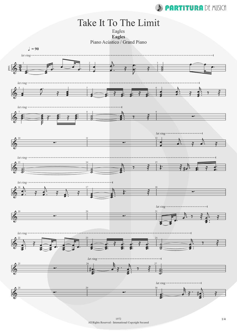 Partitura de musica de Piano - Take It to the Limit | Eagles | One of These Nights 1975 - pag 1