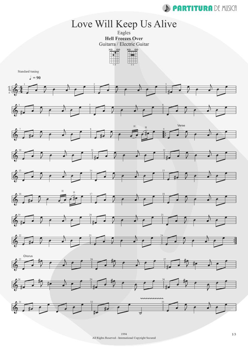 Partitura de musica de Guitarra Elétrica - Love Will Keep Us Alive | Eagles | Hell Freezes Over 1994 - pag 1