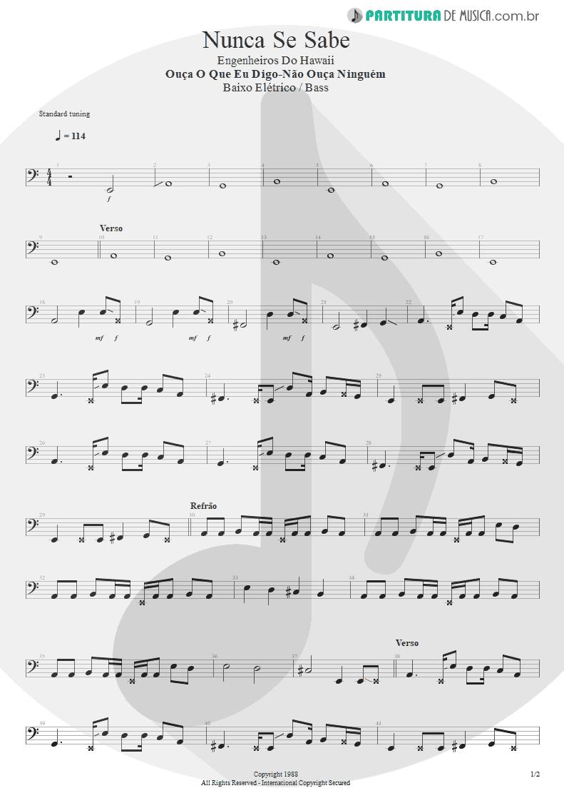 Partitura de musica de Baixo Elétrico - Nunca Se Sabe | Engenheiros do Hawaii | Ouça o Que Eu Digo: Não Ouça Ninguém 1988 - pag 1