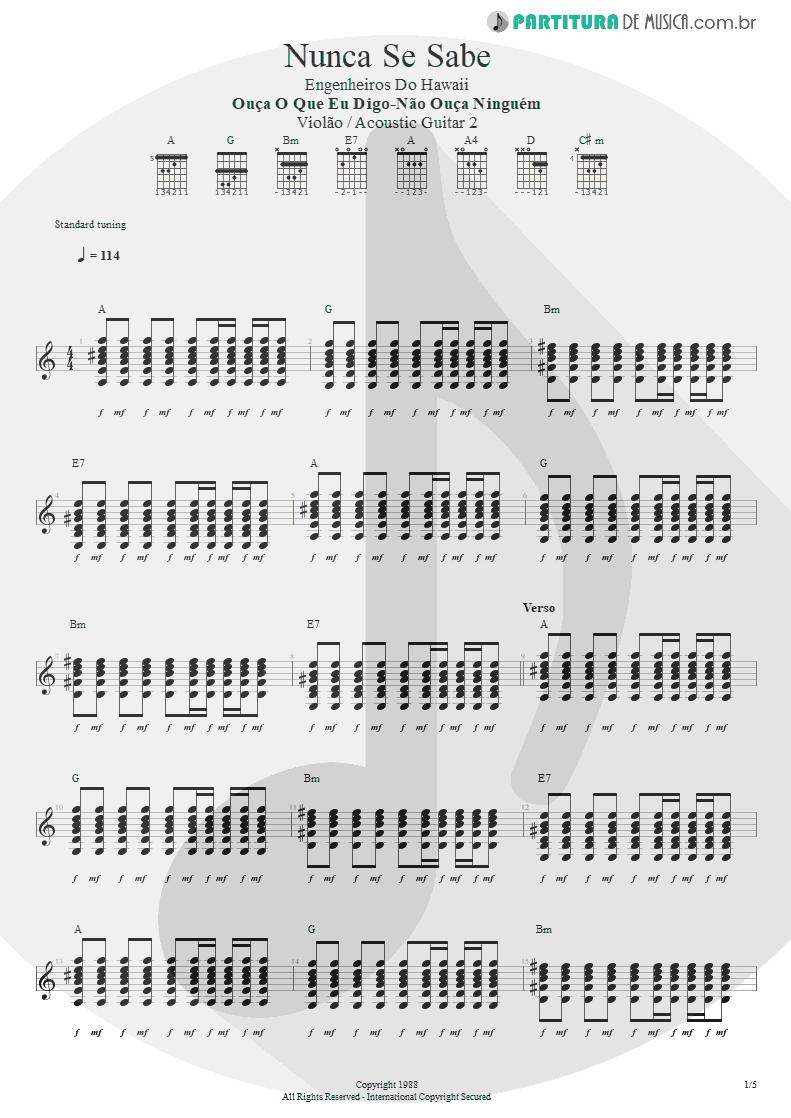 Partitura de musica de Violão - Nunca Se Sabe | Engenheiros do Hawaii | Ouça o Que Eu Digo: Não Ouça Ninguém 1988 - pag 1