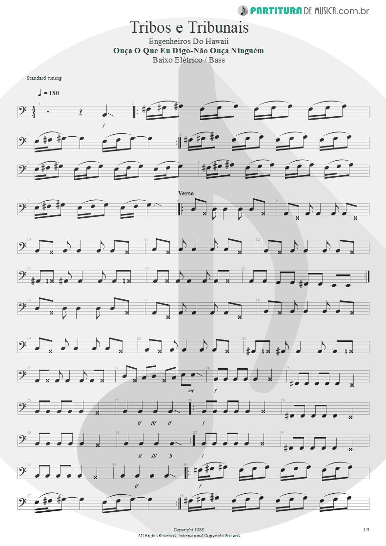 Partitura de musica de Baixo Elétrico - Tribos E Tribunais | Engenheiros do Hawaii | Ouça o Que Eu Digo: Não Ouça Ninguém 1988 - pag 1
