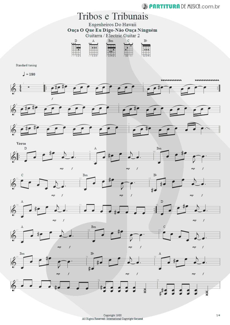 Partitura de musica de Guitarra Elétrica - Tribos E Tribunais | Engenheiros do Hawaii | Ouça o Que Eu Digo: Não Ouça Ninguém 1988 - pag 1