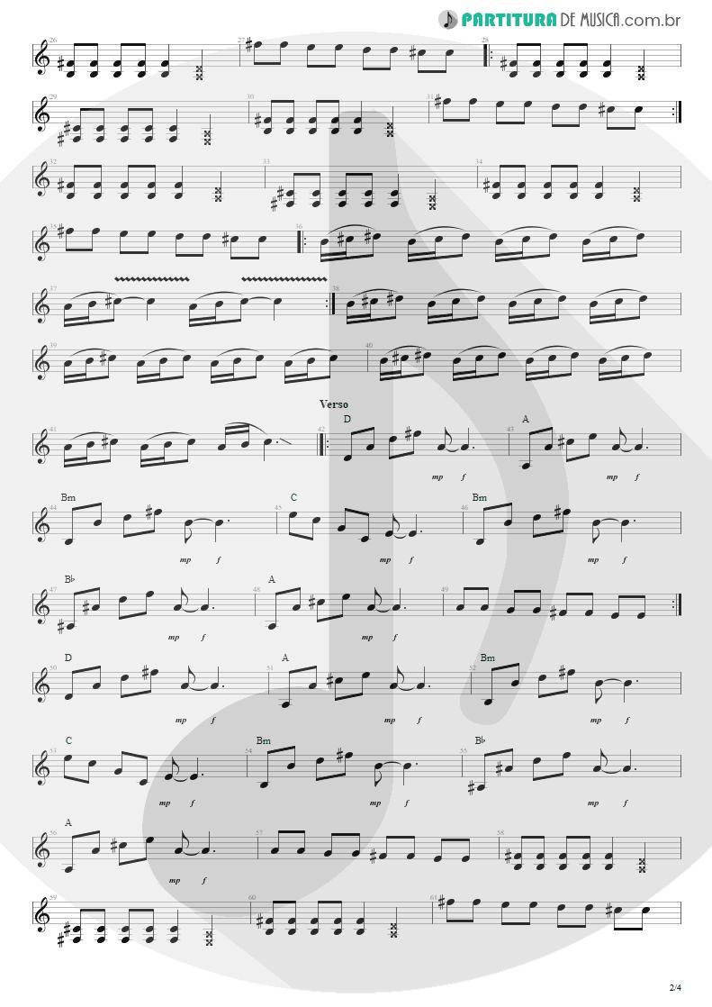 Partitura de musica de Guitarra Elétrica - Tribos E Tribunais | Engenheiros do Hawaii | Ouça o Que Eu Digo: Não Ouça Ninguém 1988 - pag 2