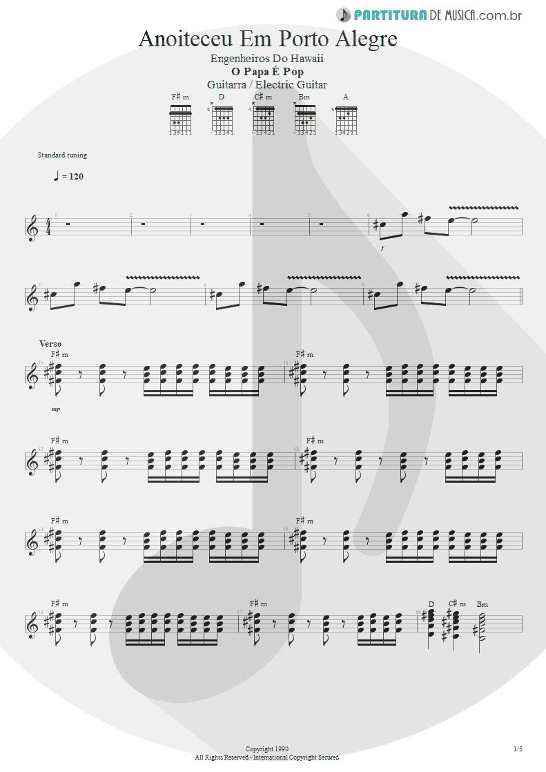 Partitura de musica de Guitarra Elétrica - Anoiteceu Em Porto Alegre | Engenheiros do Hawaii | O Papa é Pop 1990 - pag 1