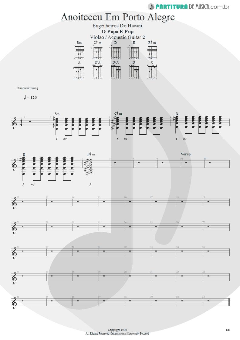Partitura de musica de Violão - Anoiteceu Em Porto Alegre | Engenheiros do Hawaii | O Papa é Pop 1990 - pag 1