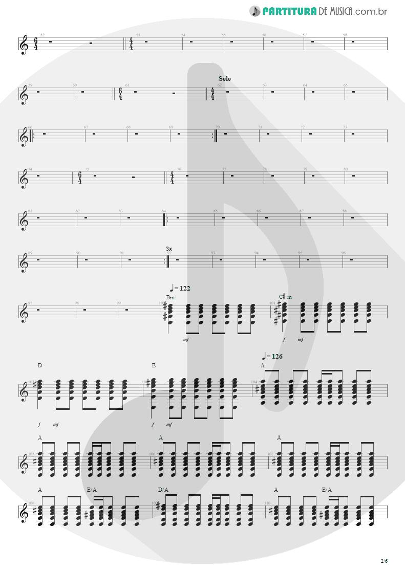 Partitura de musica de Violão - Anoiteceu Em Porto Alegre | Engenheiros do Hawaii | O Papa é Pop 1990 - pag 2