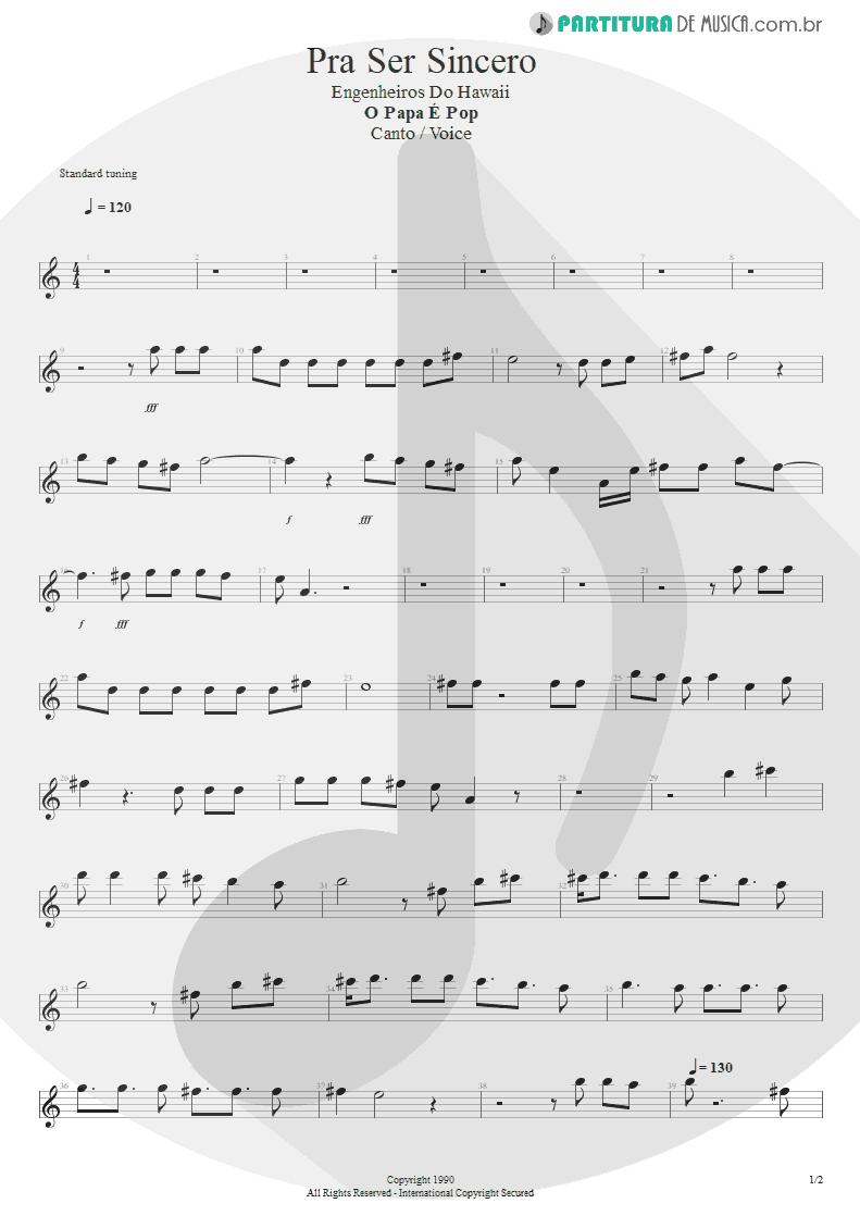 Partitura de musica de Canto - Pra Ser Sincero | Engenheiros do Hawaii | O Papa é Pop 1990 - pag 1