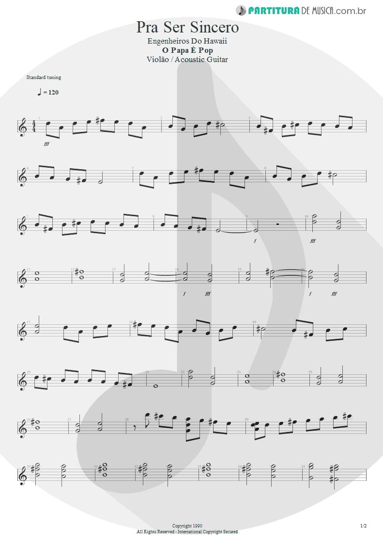 Partitura de musica de Violão - Pra Ser Sincero | Engenheiros do Hawaii | O Papa é Pop 1990 - pag 1