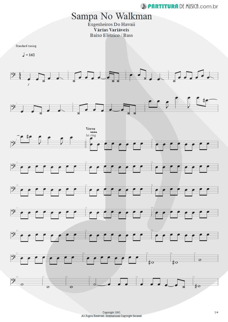 Partitura de musica de Baixo Elétrico - Sampa No Walkman | Engenheiros do Hawaii | Várias Variáveis 1991 - pag 1