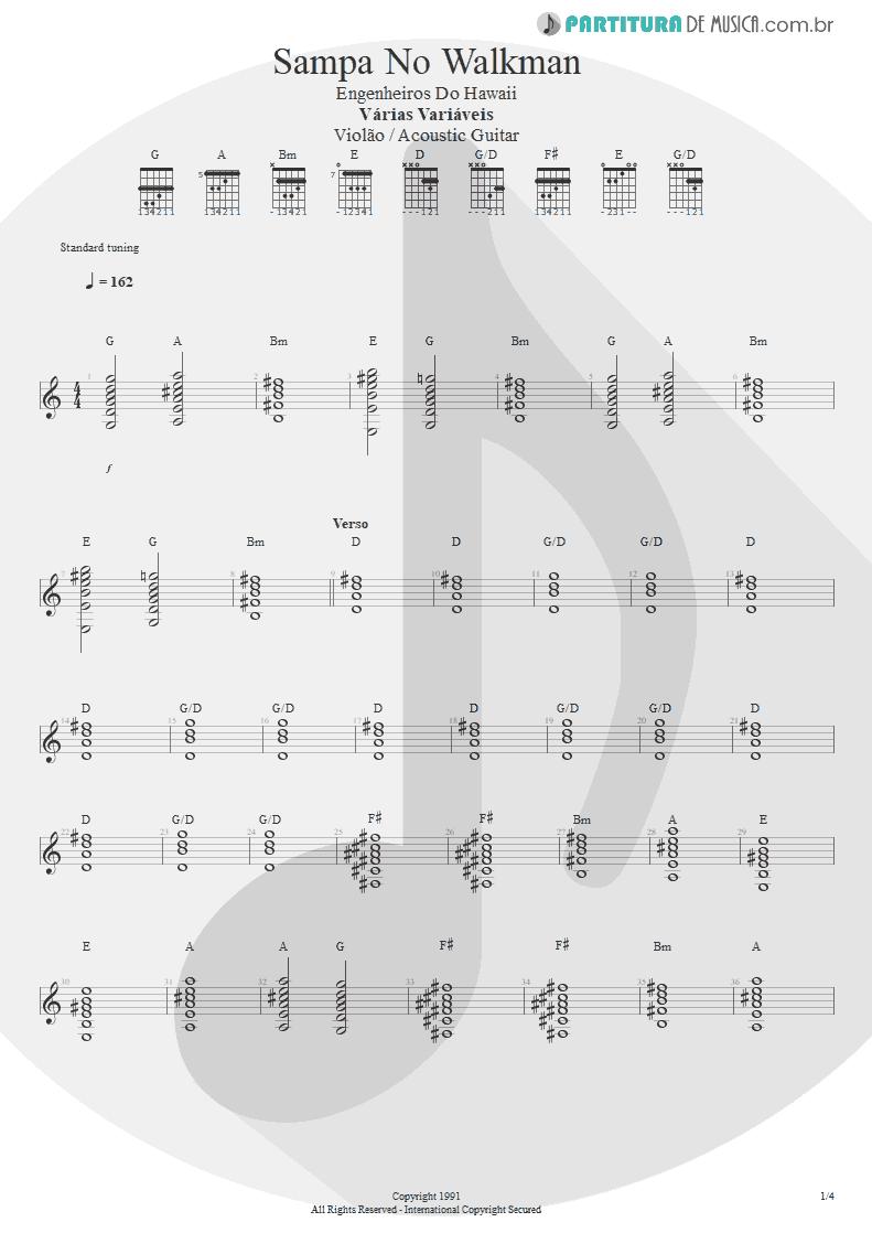 Partitura de musica de Violão - Sampa No Walkman | Engenheiros do Hawaii | Várias Variáveis 1991 - pag 1