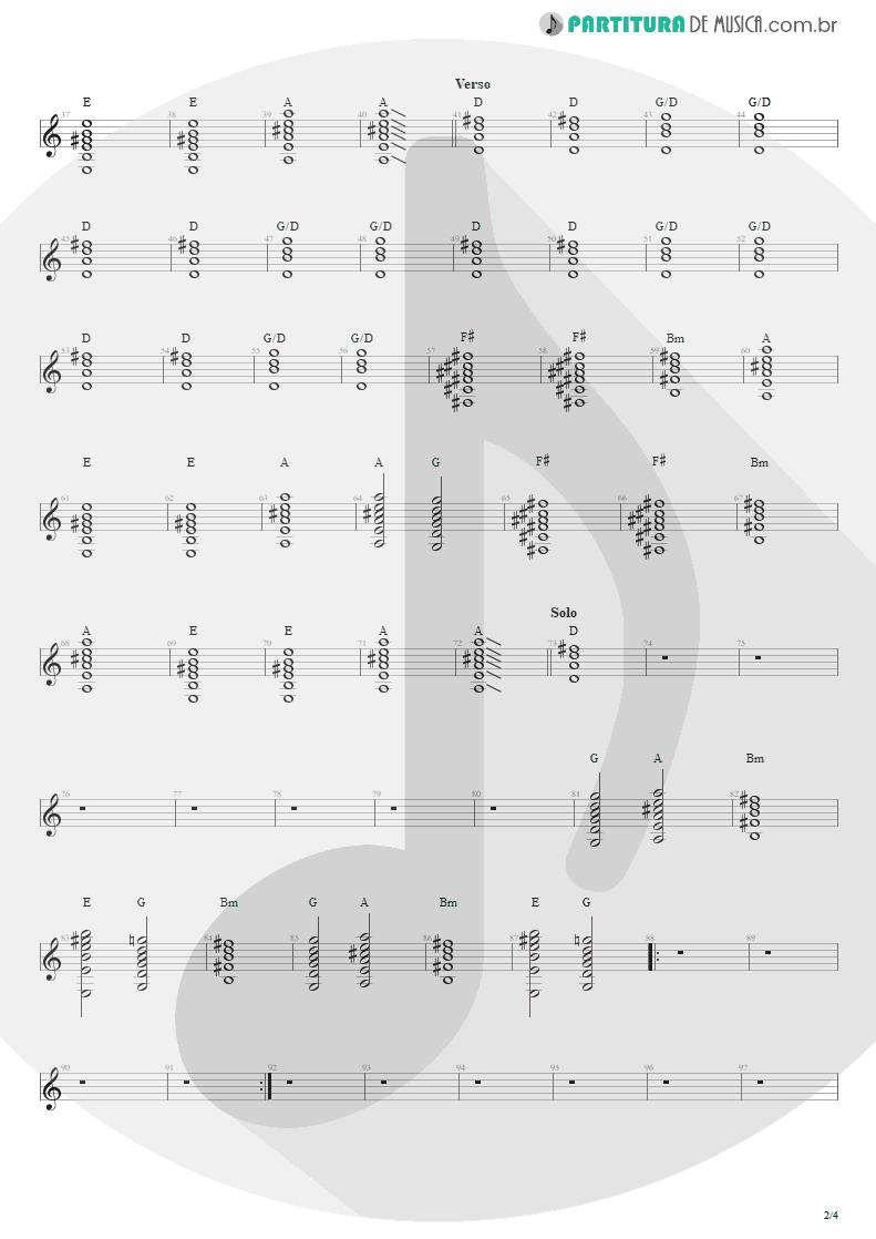 Partitura de musica de Violão - Sampa No Walkman | Engenheiros do Hawaii | Várias Variáveis 1991 - pag 2