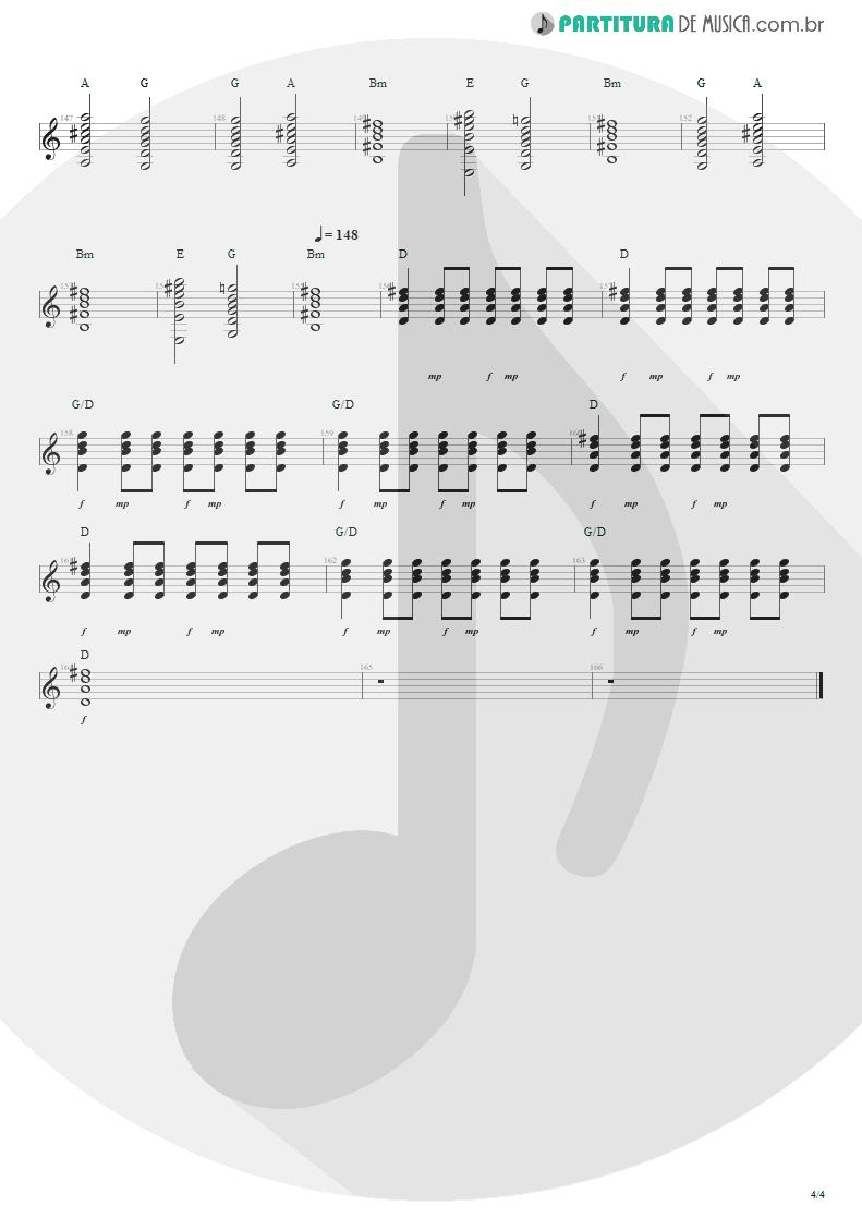 Partitura de musica de Violão - Sampa No Walkman | Engenheiros do Hawaii | Várias Variáveis 1991 - pag 4