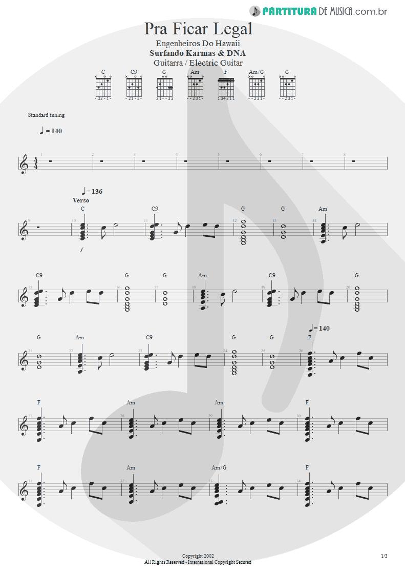 Partitura de musica de Guitarra Elétrica - Pra Ficar Legal | Engenheiros do Hawaii | Surfando Karmas & DNA 2002 - pag 1