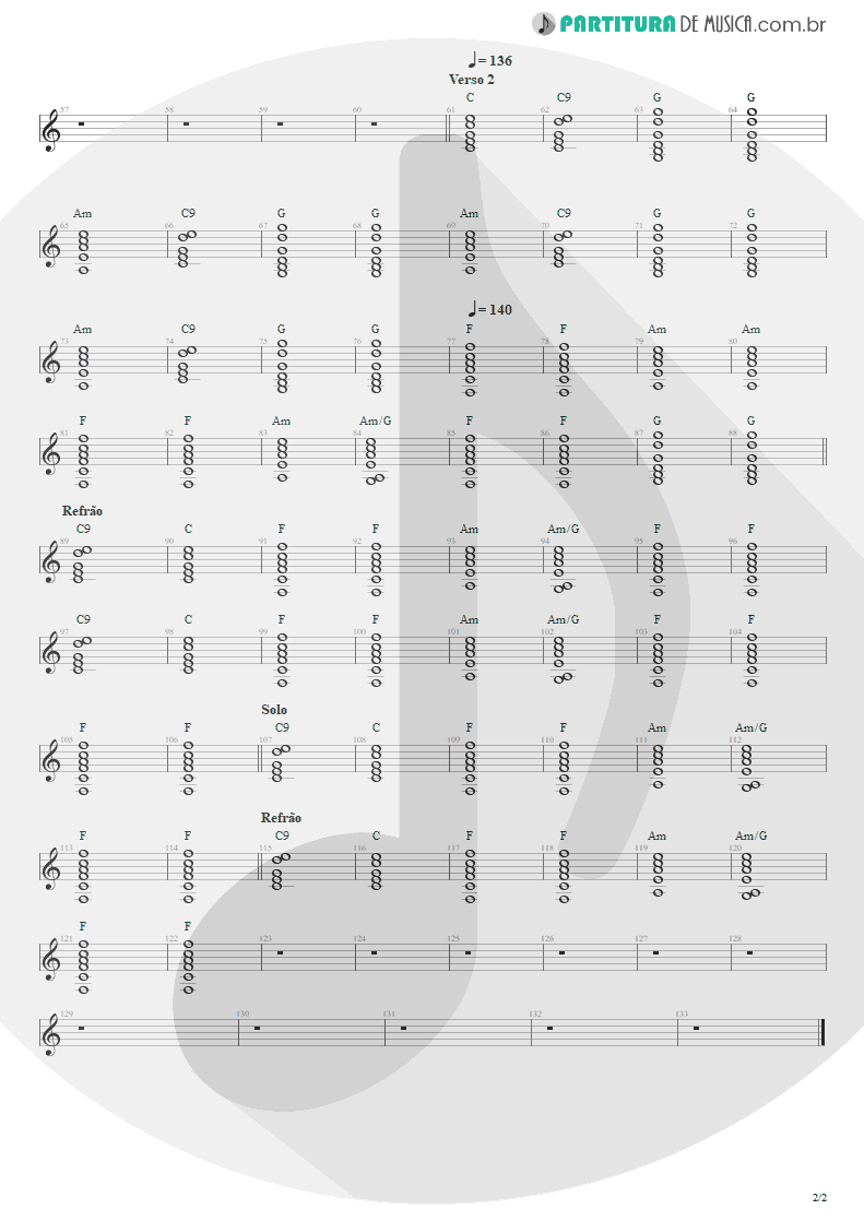 Partitura de musica de Violão - Pra Ficar Legal | Engenheiros do Hawaii | Surfando Karmas & DNA 2002 - pag 2