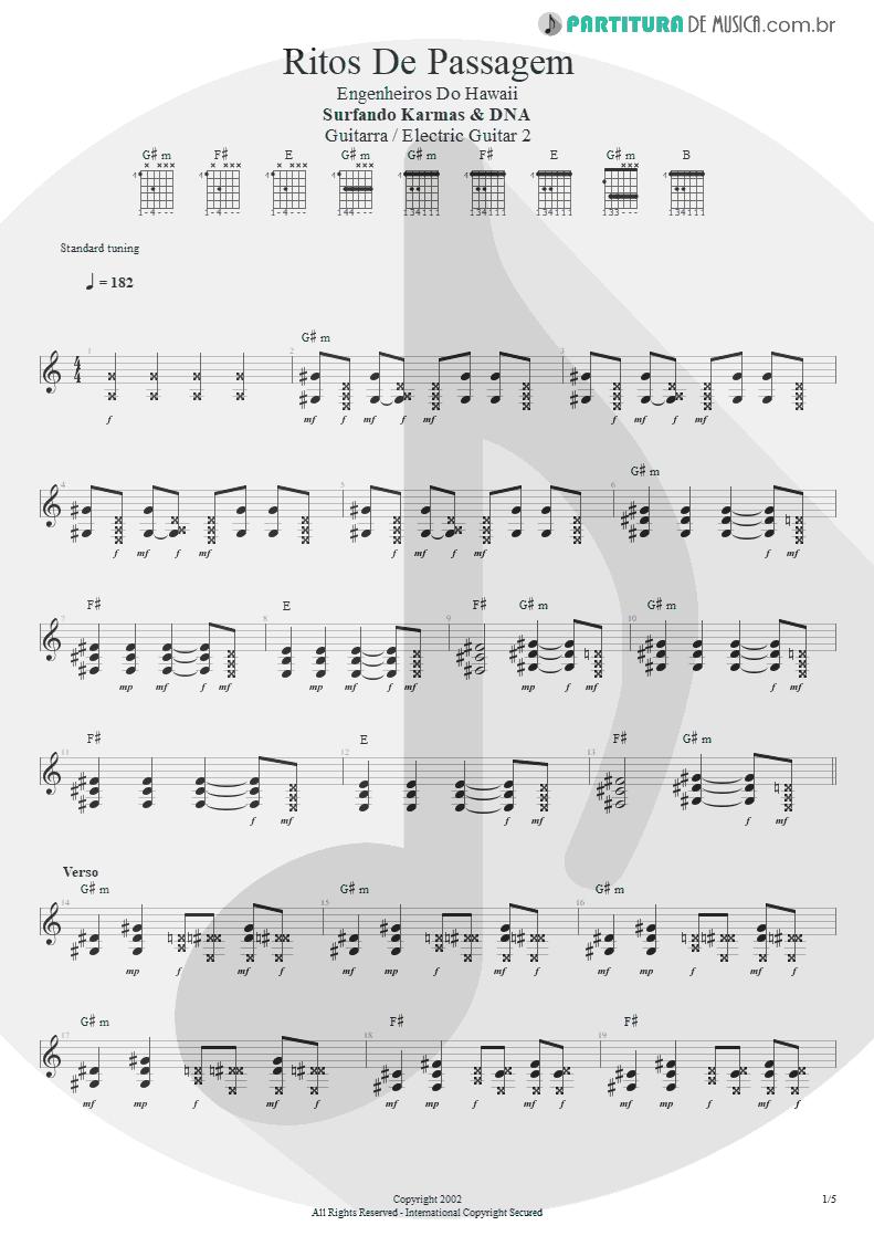 Partitura de musica de Guitarra Elétrica - Ritos De Passagem | Engenheiros do Hawaii | Surfando Karmas & DNA 2002 - pag 1