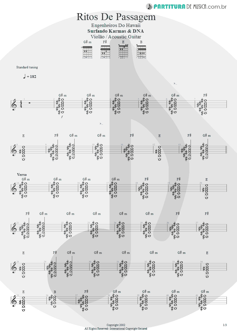 Partitura de musica de Violão - Ritos De Passagem | Engenheiros do Hawaii | Surfando Karmas & DNA 2002 - pag 1