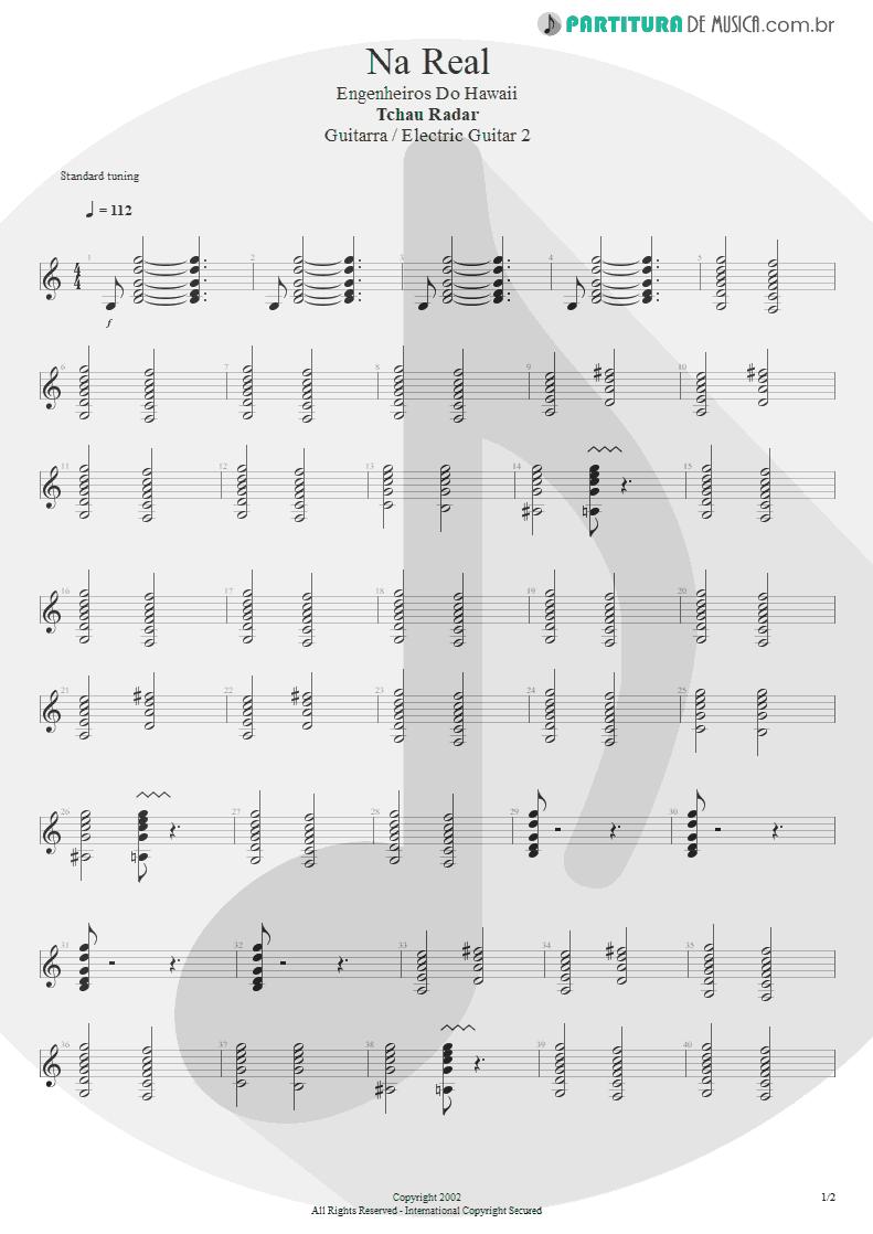 Partitura de musica de Guitarra Elétrica - Na Real | Engenheiros do Hawaii | ¡Tchau Radar! 2002 - pag 1