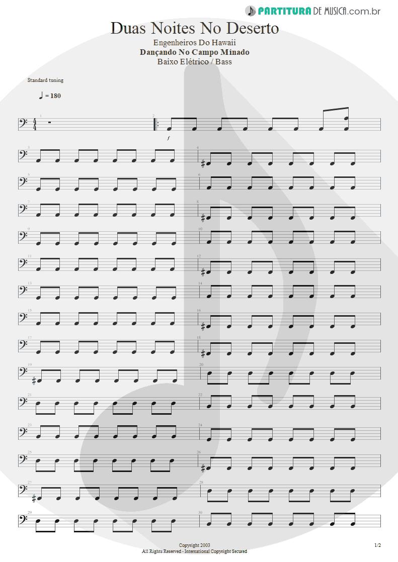 Partitura de musica de Baixo Elétrico - Duas Noites No Deserto | Engenheiros do Hawaii | Dançando no Campo Minado 2003 - pag 1