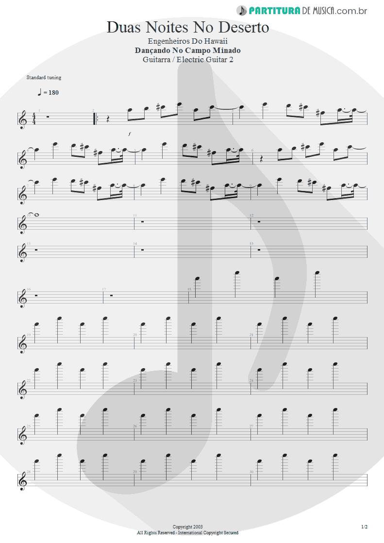 Partitura de musica de Guitarra Elétrica - Duas Noites No Deserto | Engenheiros do Hawaii | Dançando no Campo Minado 2003 - pag 1
